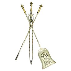 Set Antique 19th century English Steel and Brass Mounted Fireplace Hearth Tools Including Shovel, Tongs and Poker with Barley Twist Design