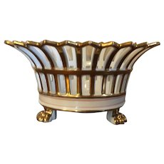Antique Early 19th c. French Empire Paris Porcelain Gilt Reticulated Centerpiece Basket or Corbeille with Lion Paw Feet