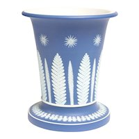 Large Antique Early 19th century Georgian Wedgwood Blue Jasperware Vase Urn in the Dr. Darwin Pattern 1810 - 1820