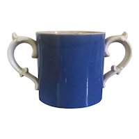 Antique 19th century English Victorian Creamware Pearlware Double Handled Vase Mug or Quart Measure in Bright Blue Glaze and White Handles
