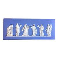 Antique Edwardian Light Blue Wedgwood Jasperware Plaque of the Greek Muses