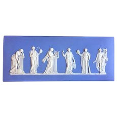 Antique Edwardian Light Blue Wedgwood Jasperware Plaque of the Greek Muses