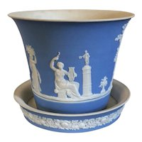 Antique 19th century Wedgwood Neoclassical Light Blue Jasperware Cachepot Flower Pot Jardiniere and Stand