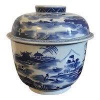 Very Large Chinese Export Blue & White Porcelain Storage Jar and Cover