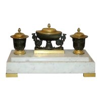 Antique 19th century French Empire Gilt & Patinated Bronze on White Marble Encrier or Inkwell