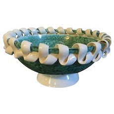 French Art Deco Pottery Bowl in Green Glaze with White Ribbon Rim by Sainte Radegonde circa 1930