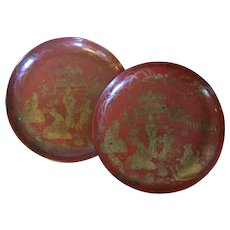 Pair Antique 19th century English Regency Papier Mache Red Lacquer Low Bowls or Trays with Chinese Figures in Gold