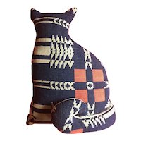 Americana Folk Art Cat Pillow or Soft Sculpture Hand Sewn from 19th century American Woven Coverlet Textile