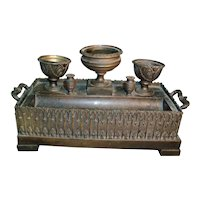 Antique 19th century French Charles X Patinated Bronze Inkwell or Encrier in the Gothic Taste - 1820