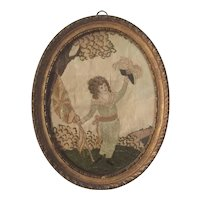 Antique Early 19th century English Regency Silk Needlework & Watercolor Picture of a Young Boy with the Union Flag or Union Jack and His Hat