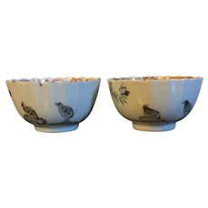 Pair 18th century Chinese Export Porcelain Famille Rose Tea Cups or Bowls Decorated with Quail Birds Painted en Grisaille