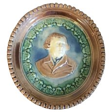 Antique Late 18th / Early 19th century English George III Pearlware Portrait Plaque in Whieldon Colors 1800