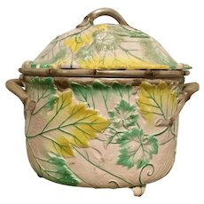 Antique 19th century Wedgwood Pearlware Creamware Grape Leaf & Vine Fruit Cooler or Tureen with Liner & Lid