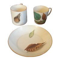 Antique Early 19th century Wedgwood Botanical Creamware Shadow Leaf Trio with Tea Cup, Coffee Can and Saucer Dish 1810