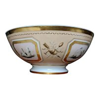 Antique French Empire Early 19th century Old Paris Porcelain Bowl for Fruit or Punch Decorated with Alternating Reserves of Trophies and Landscapes Painted en Grisaille on Bright Pink & Apricot Ground