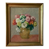1930's Botanical Floral Still Life Oil Painting on Canvas Zinnia Flowers in a Vase Expertly Painted