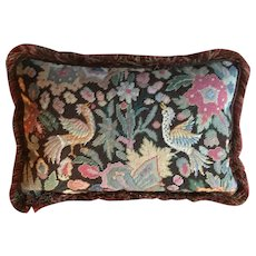 Antique 19th century Needlework Tapestry Made into a Pillow in the Louis XVI Taste Needlepoint & Petit Point Birds and Flowers with Velvet Back and Fringe