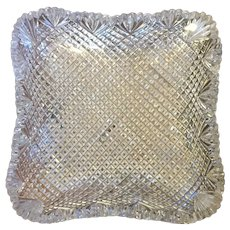 Antique 19th century American Brilliant Period Cut Glass Lead Crystal Square Dish