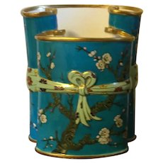 Antique 19th century English Porcelain Aesthetic Movement Japanese Turquoise Scroll Vase in the Minton Taste