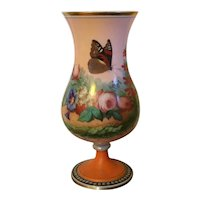 Antique 19th century English Bristol Glass Urn or Vase Decorated with Monarch Butterfly and flowers on a Bright Pink & Orange Ground