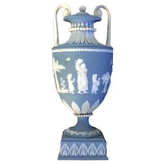Antique Late 18th / Early 19th century English George III Wedgwood Solid Blue Jasperware Vase or Urn Designed by Lady Templetown 1800