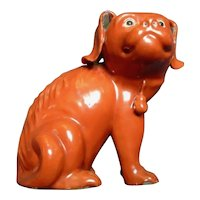 Antique 19th century Chinese Monochrome Coral Red Porcelain Figure of a Spaniel Dog or Hound