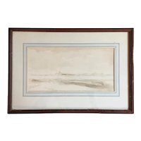 19th century American Impressionist Hudson River School Ink Wash and Watercolor Drawing Sepia Landscape Painting Signed Durand