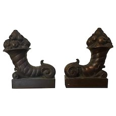Pair Antique 19th century Bronze Cornucopia Architectural Sculptures with Fruit in the Neoclassical, Regency, Colonial Revival Taste