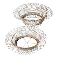 Pair Antique 19th century Victorian French Oval Wire Garden Baskets or Planters