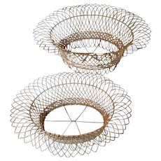 Pair Antique 19th century Victorian French Oval Wirework Garden Baskets or Planters