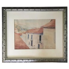 Pre-War Watercolor Painting Architectural Street Scene of Cusco, Peru Signed Victor Llara Cuzco, October 1941