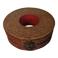 Antique 19th century Round Chinese Red & Black Lacquer Pigskin Box with Intricate Gilding