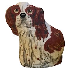 Vintage Wool Needlework Needlepoint Pillow or Doorstop in the Form of a King Charles Spaniel