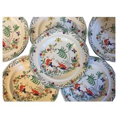 Set 6 Antique  1920 Adderley's China Dinner Plates in the Chin Chow Pattern with Chinese Figures in Landscape Art Deco