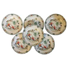 Set 6 Antique 1920 Adderley's China Lunch or Salad or Cake Plates in the Chin Chow Pattern with Chinese Figures in Landscape Art Deco