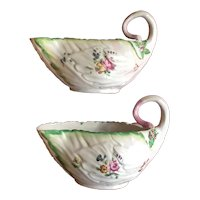 Pair Antique 18th century English Georgian Chelsea Derby Porcelain Lettuce Form Sauce Boats 1750 - 1760