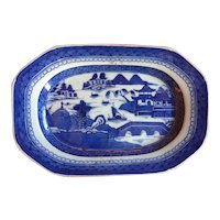 Antique 19th century Chinese Export Canton Porcelain Small Platter Decorated with Harbor Landscape in Blue & White