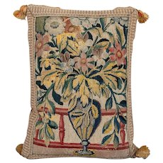 Antique 17th / 18th century French Verdure Tapestry of a Flower Urn or Vase Mounted on a Pillow with Woven Trim & Velvet Back