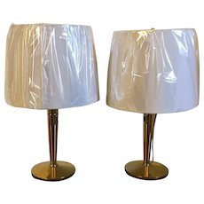 Pair Signed & Dated 1960 Japanese Mid-Century Modern MCM Brass Table or Desk Lamps Convertible to Wall Sconces by Anzen Denki, Tokyo