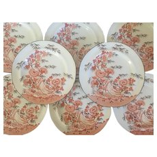Set 8 Early 19th century Spode Creamware Dinner Plates in the Chinese Bamboo Pattern Rare Color Scheme Red / Orange and Brown circa 1810