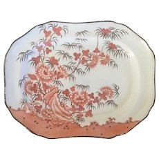 Early 19th century Spode Creamware Platter in the Chinese Bamboo Pattern Rare Color Scheme Red / Orange and Brown circa 1810