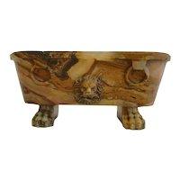 Antique 19th century Roman Grand Tour Carved Marble Tub After the Farnese Bath Rare Alabastro Fiorito