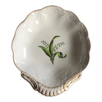 Antique early 19th century Spode Botanical Pattern 1875 Shell Shape Dessert Dish with Hand Painted Lily of the Valley and Relief Molded Dolphin Border circa 1812
