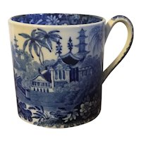 Antique Early 19th century Wedgwood Pearlware Creamware Coffee Can with Chinoiserie Decoration of Chinese Pagodas in Blue & White Transferware circa 1815