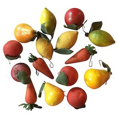Collection of 15 Small Scale German Spun Cotton Batting Fruit Christmas Tree Ornaments Lemon Pear Apple Carrot