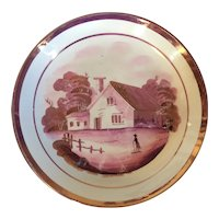Antique 19th century English Regency Pink Luster Cake Plate or Low Bowl with Farm Landscape