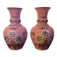 Pair Antique 19th century French Victorian Aesthetic Movement Pink Satin Glass Mantel Vases with Hand Painted Flowers