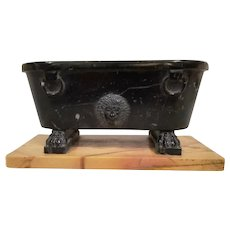 Antique 19th century Roman Grand Tour Carved Black Marble Tub with Lion Mask on Siena Marble Base After the Farnese Bath