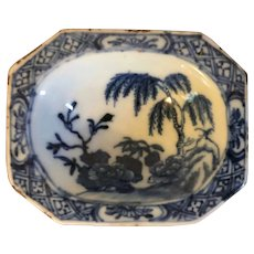 Antique 18th century Chinese Export Porcelain Canton Blue & White Salt Cellar Trencher