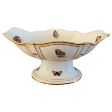 Large Antique Late 18th century Old Paris Porcelain Tazza Centerpiece Pedestal Bowl Compote Decorated with Butterflies & Insects 1800